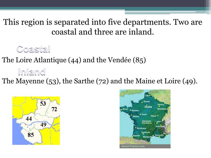This region is separated into five departments. Two are coastal and three are inland.
