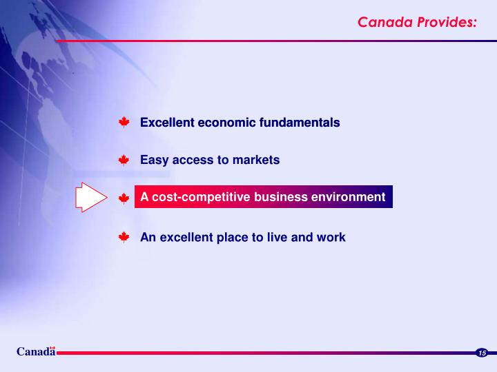 A cost-competitive business environment