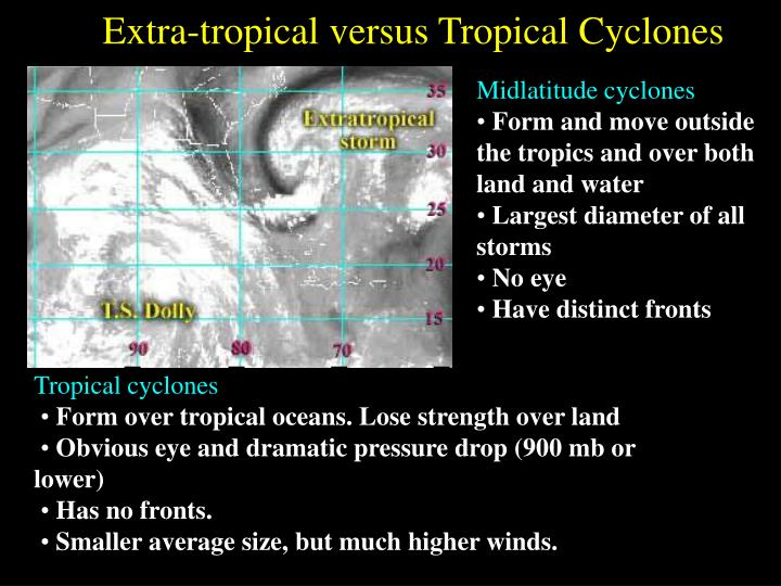 Extra-tropical versus Tropical Cyclones