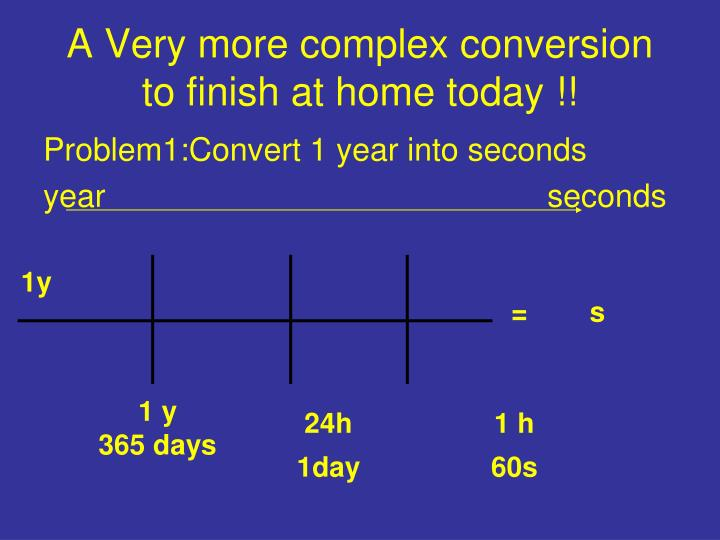 A Very More Complex Conversionto Finish At Home Today Problem1 Convert 1 Year