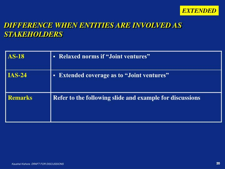 DIFFERENCE WHEN ENTITIES ARE INVOLVED AS STAKEHOLDERS