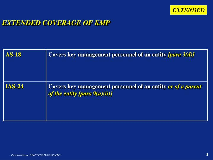 EXTENDED COVERAGE OF KMP