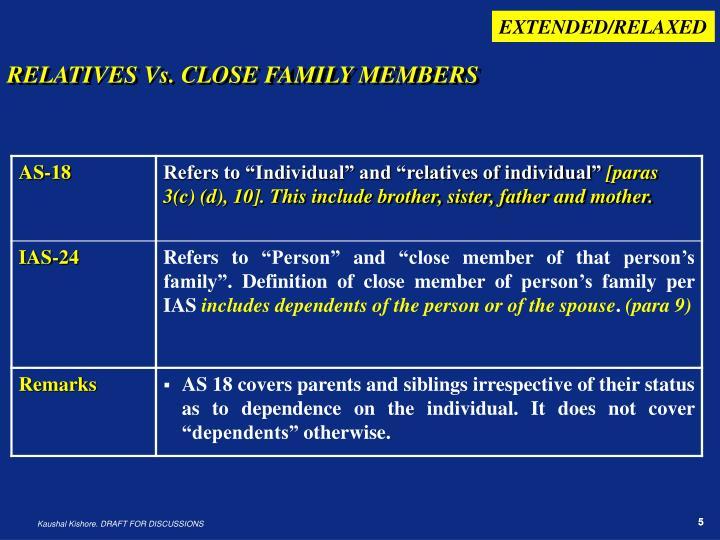 RELATIVES Vs. CLOSE FAMILY MEMBERS