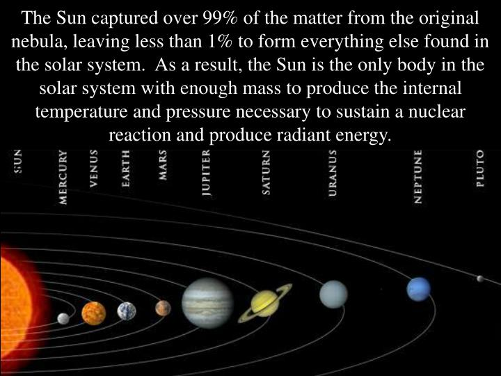 The Sun captured over 99% of the matter from the original nebula, leaving less than 1% to form everything else found in the solar system.  As a result, the Sun is the only body in the solar system with enough mass to produce the internal temperature and pressure necessary to sustain a nuclear reaction and produce radiant energy.