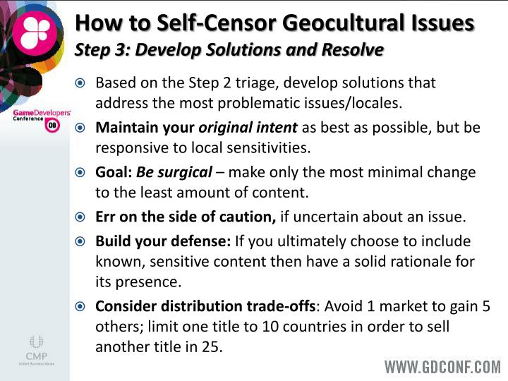 How to Self-Censor Geocultural Issues