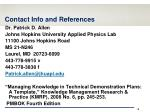 contact info and references