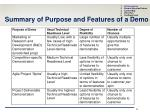 summary of purpose and features of a demo