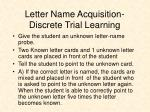 letter name acquisition discrete trial learning
