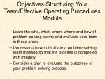 objectives structuring your team effective operating procedures module