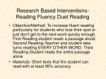 research based interventions reading fluency duet reading