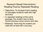 research based interventions reading fluency repeated reading
