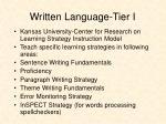 written language tier i