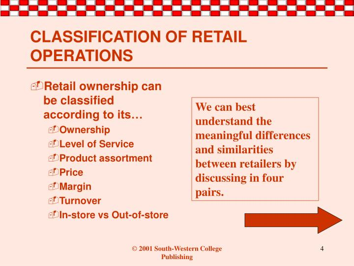 Retail ownership can be classified according to its…