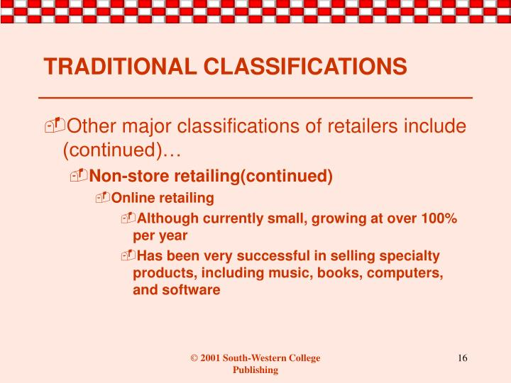 TRADITIONAL CLASSIFICATIONS