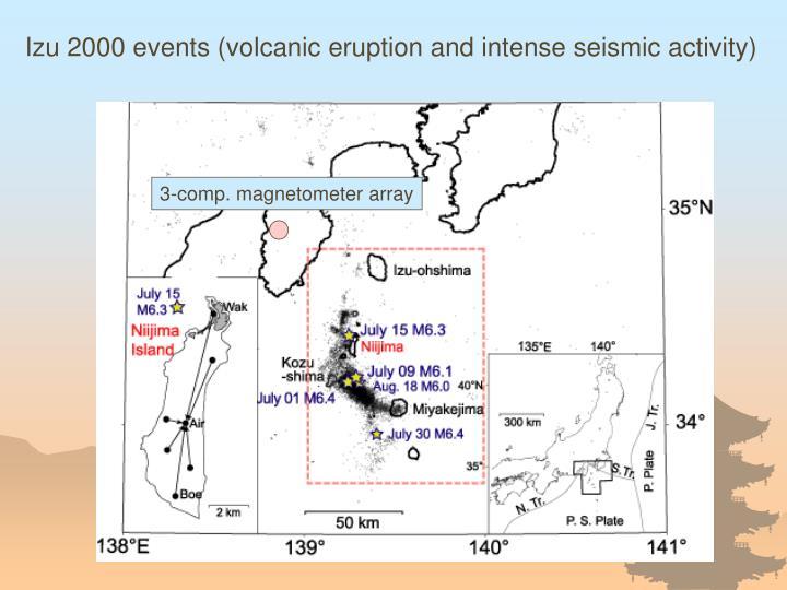 Izu 2000 events (volcanic eruption and intense seismic activity)