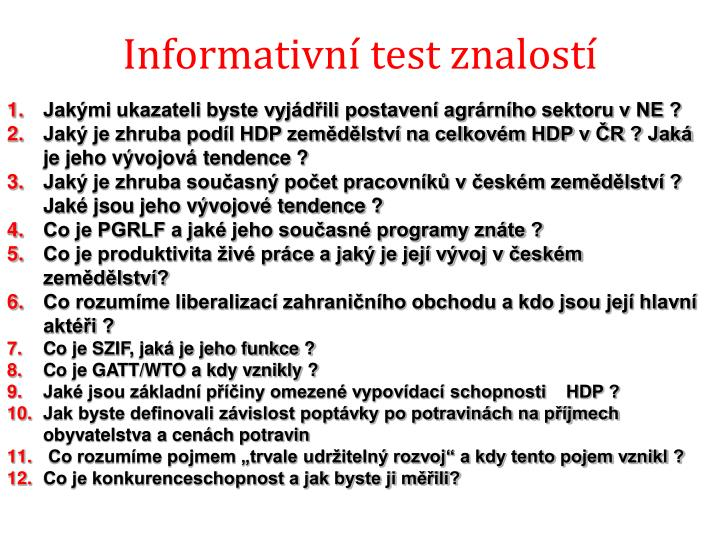 Informativní test znalostí