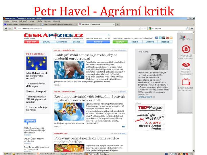 Petr Havel - Agrární kritik