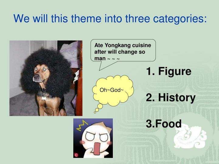 We will this theme into three categories: