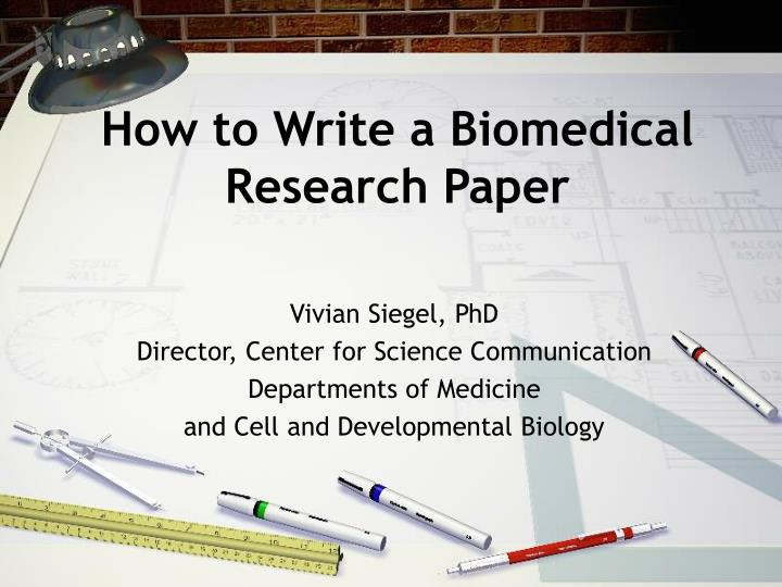how to write a biomedical research paper n.