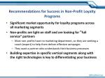 recommendations for success in non profit loyalty programs