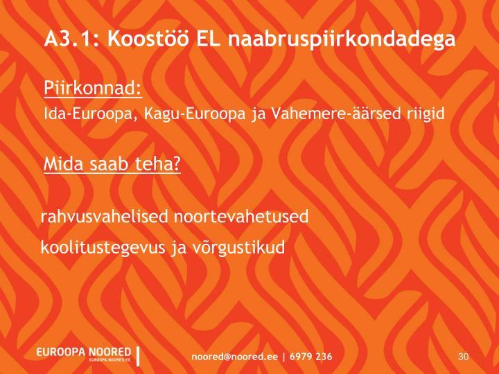 A3.1: Koostöö EL naabruspiirkondadega