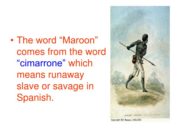"The word ""Maroon"" comes from the word"