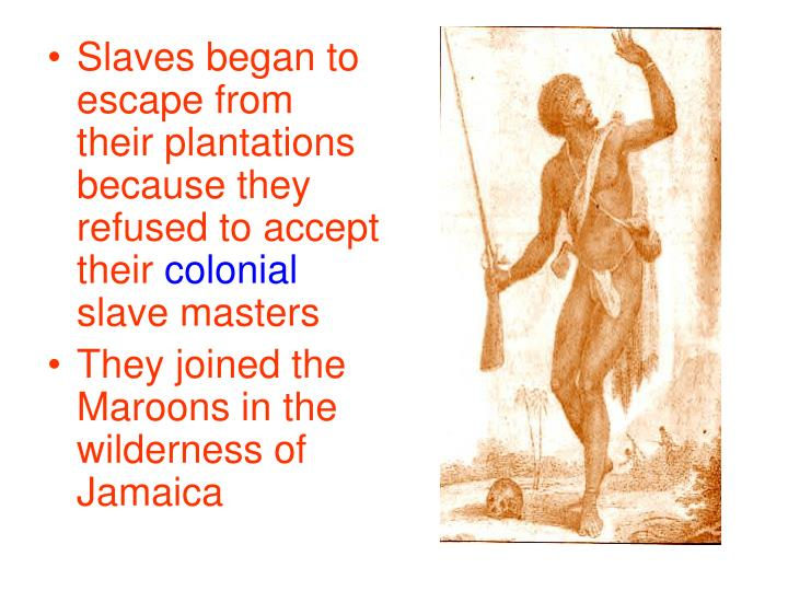Slaves began to escape from their plantations because they refused to accept their