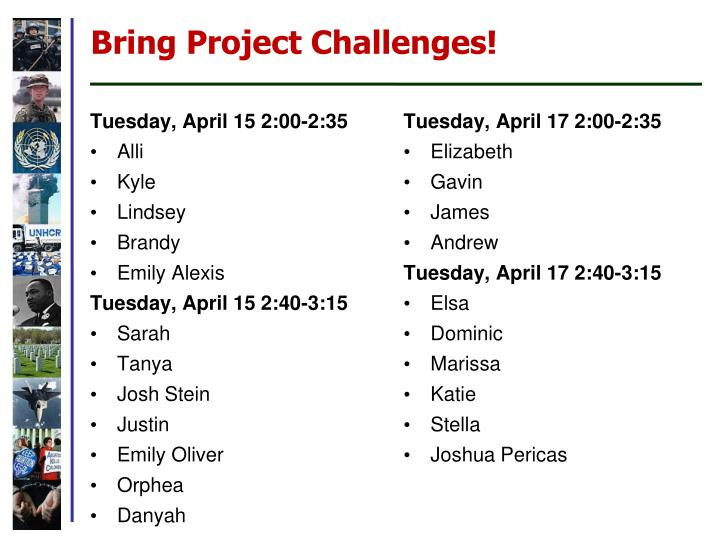 Bring Project Challenges!