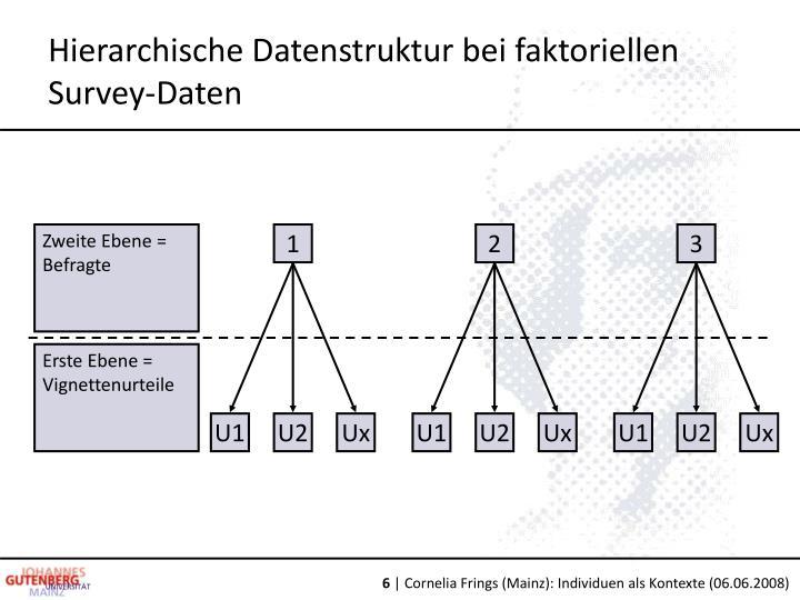 Hierarchische Datenstruktur bei faktoriellen Survey-Daten