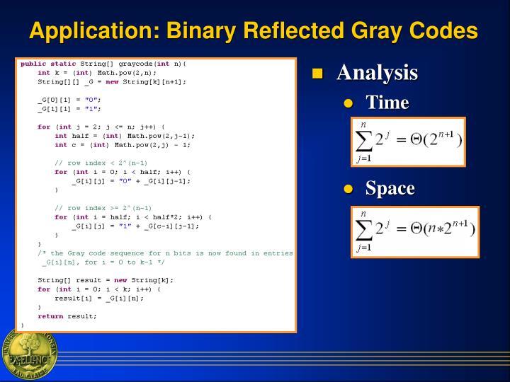 Application: Binary Reflected Gray Codes