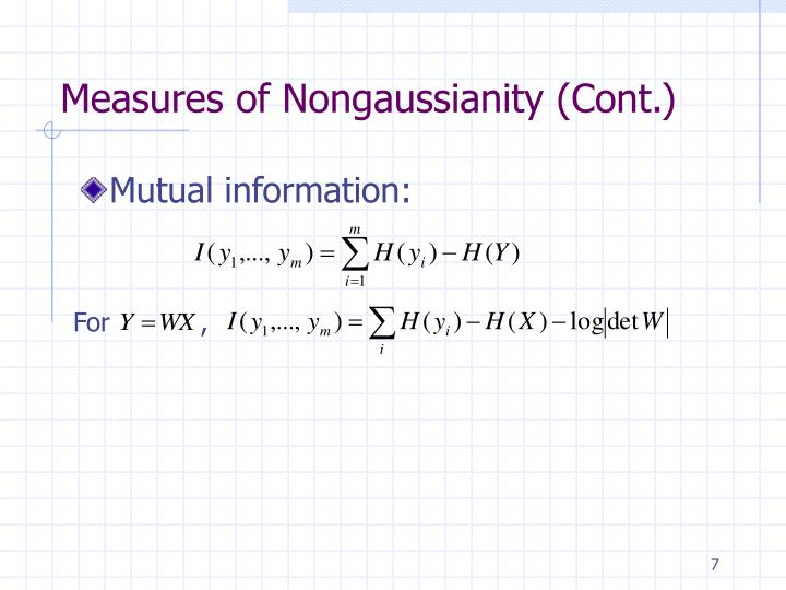 Measures of Nongaussianity (Cont.)