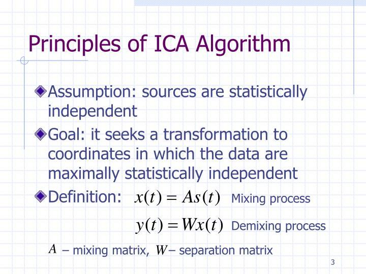 Principles of ica algorithm