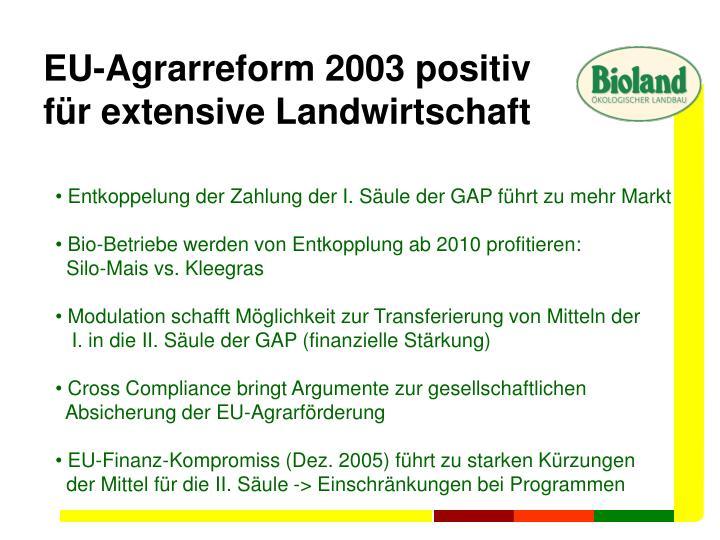 EU-Agrarreform 2003 positiv
