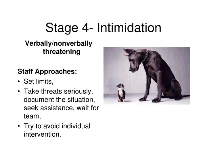 Stage 4- Intimidation