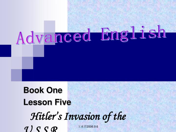 book one lesson five hitler s invasion of the u s s r n.