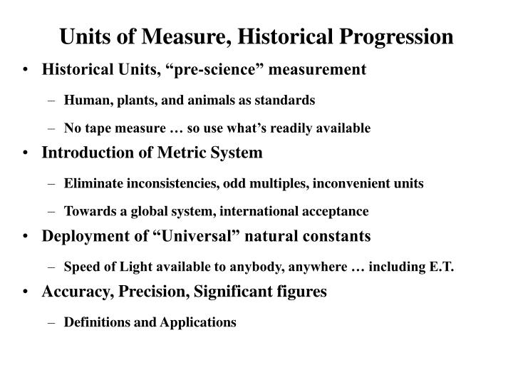 units of measure historical progression n.