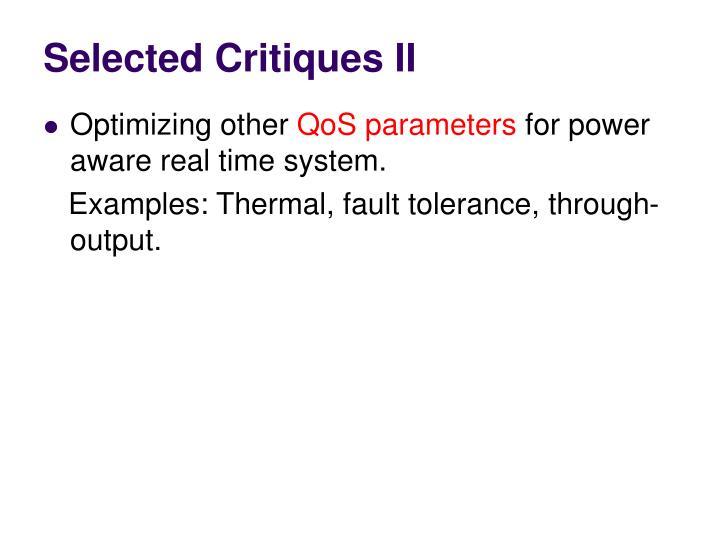 Selected Critiques II