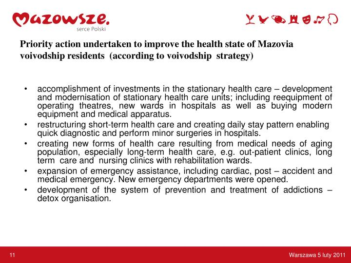 Priority action undertaken to improve the health state of Mazovia voivodship residents  (according to voivodship  strategy)