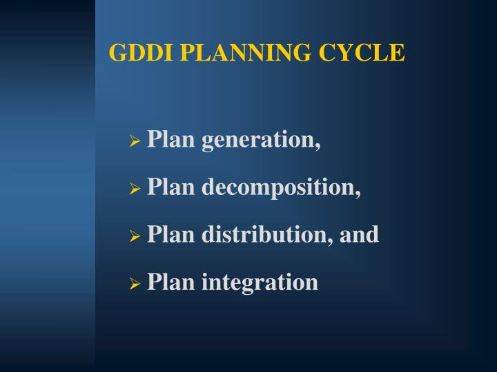 GDDI PLANNING CYCLE