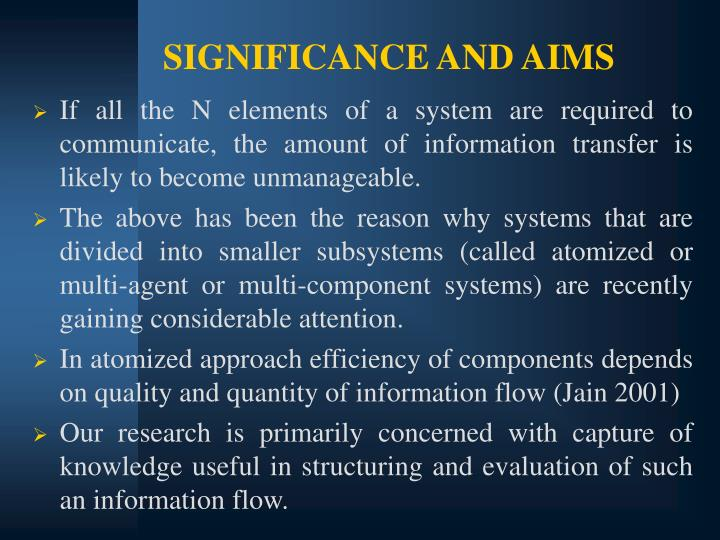 SIGNIFICANCE AND AIMS