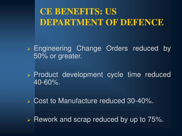 CE BENEFITS: US DEPARTMENT OF DEFENCE