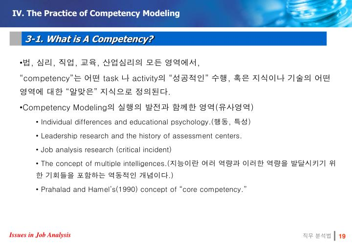 IV. The Practice of Competency Modeling