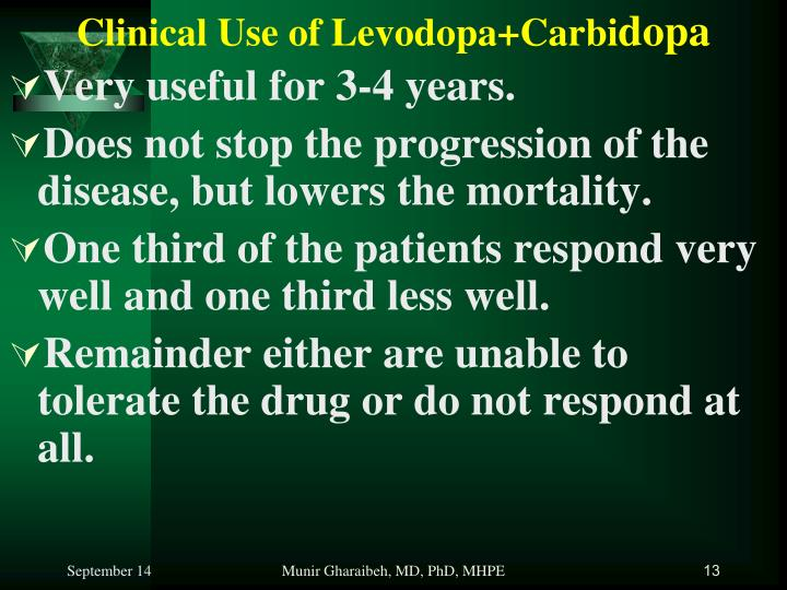 Clinical Use of Levodopa+Carbi