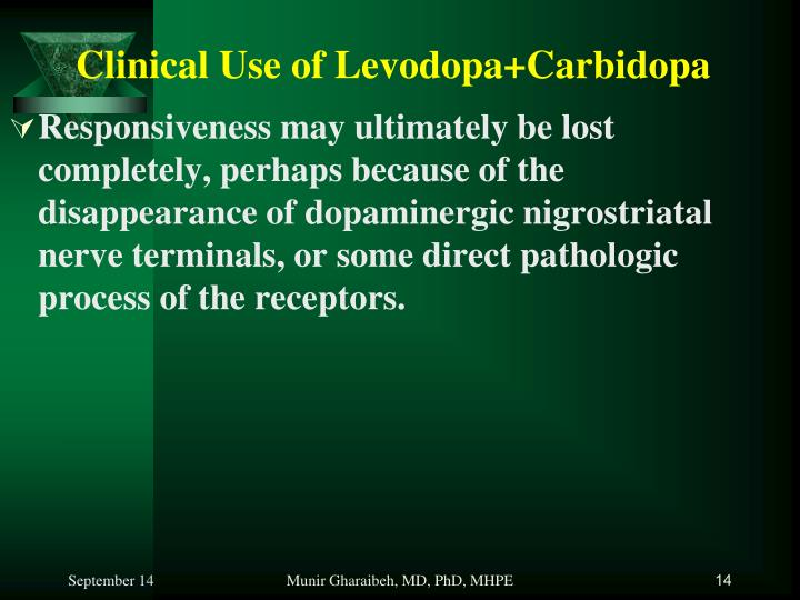 Clinical Use of Levodopa+Carbidopa