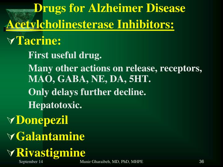 Drugs for Alzheimer Disease