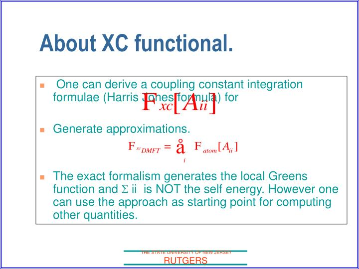 About XC functional.
