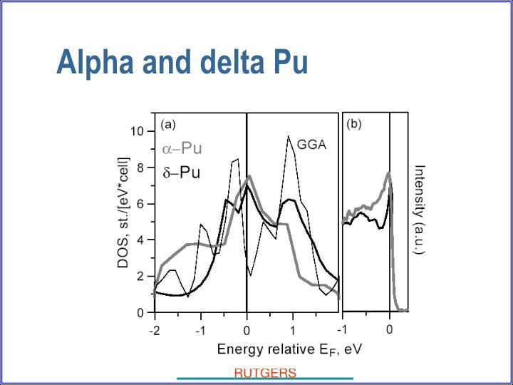 Alpha and delta Pu