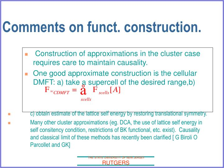 Comments on funct. construction.