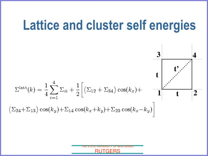 Lattice and cluster self energies