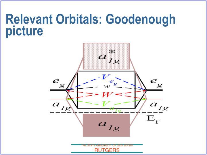 Relevant Orbitals: Goodenough picture